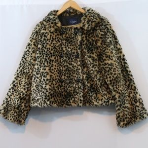 AEO Leopard Faux Fur Double Breasted Coat Jacket